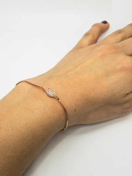 Micro Pave CZ Connector Rose Gold Bracelet, Cubic Zirconia Space bracelet Connector, Cz Cute Rose gold Adjustable Bracelet