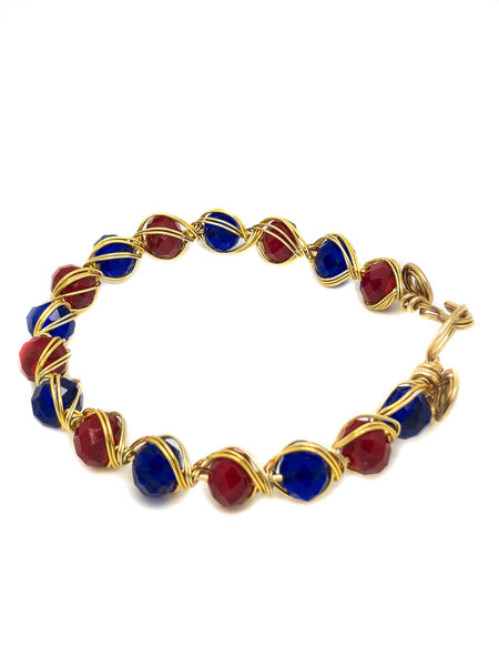 Wire wrapping bracelet, Wire wrapping jewelry, red and blue bracelet, wire blue and red, wrap bracelet, wire gold blue and red bracelet