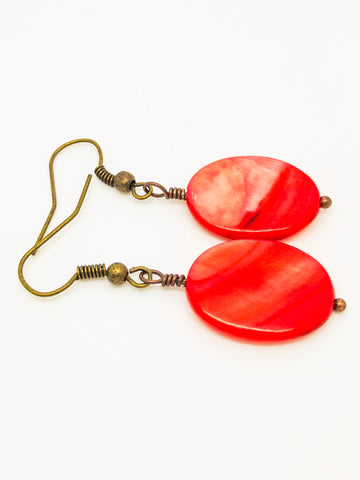 Red mother pearl earrings, stud red earrings, dangle red agate earrings, red post earrings