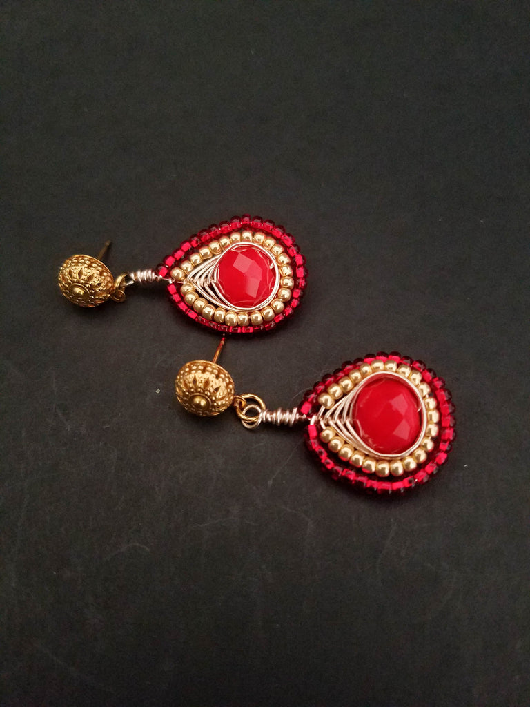 Red Gold Boho Style Stud, Wire Wrapped Gold and Red Earrings