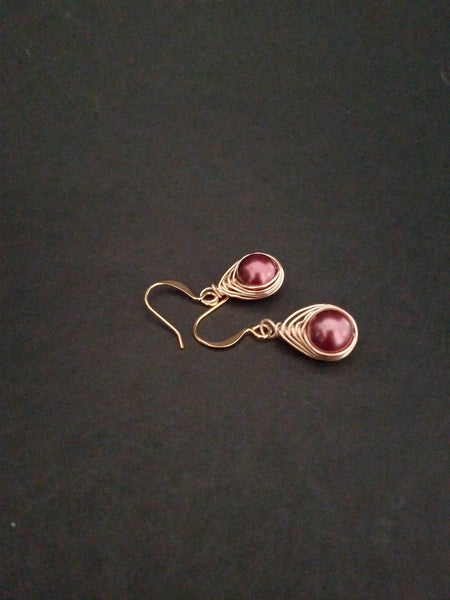 Brown Gold Earrings Wire Wrapped, Brown Pearl Bridal Jewelry