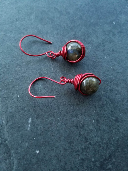 Red wire earrings