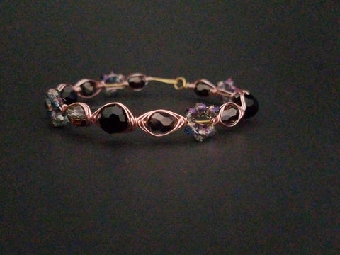Black Gold Rose Wire Wrapped Bracelet