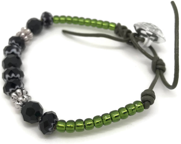 Black and Green leather Bracelet