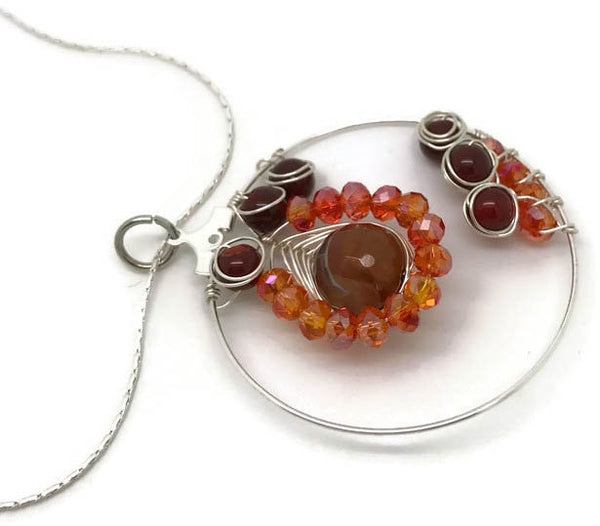 Orange Silver Necklace
