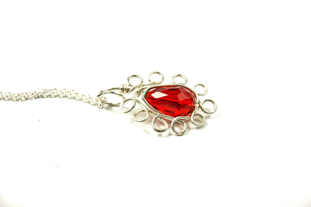 Red Silver Necklace, Silver Red Necklace