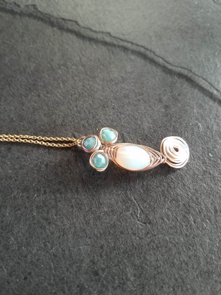 Rose Gold Turquoise Necklace, Turquoise White Rose Gold Wire Wrapped Necklace