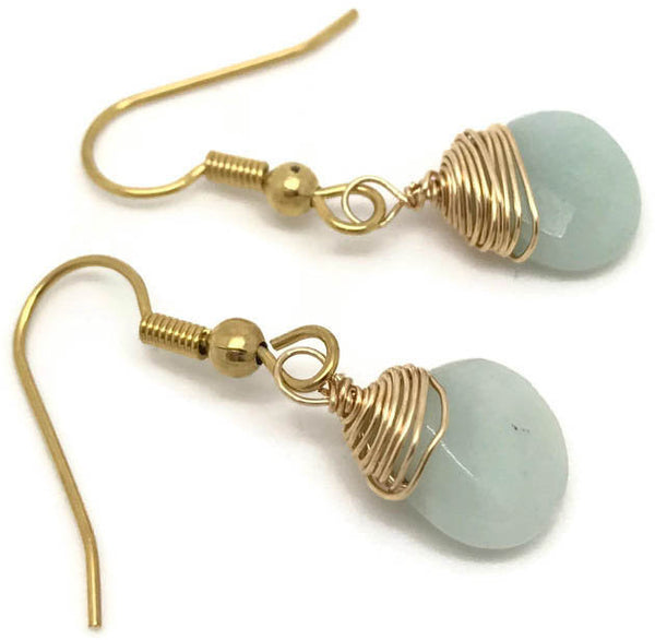 Amazonite wire wrapping earrings, light blue wire wrapping earrings, amazonite tear drop earrings