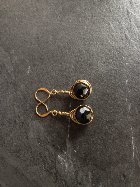 Black Gold Earrings Wire Wrapped
