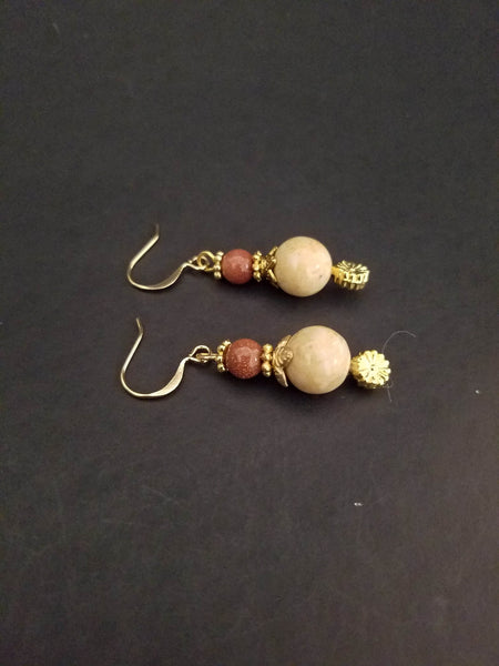 Goldstone Earrings - Dangle Goldstone Earrings - Goldstone Jewelry - Stone Earrings - Brown Gold Earrings - Brown Earrings - Drop Earrings