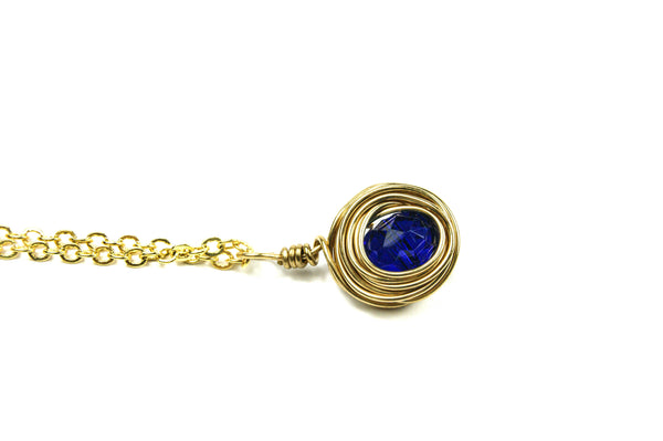 Gold Dark Blue Wire Wrapped Necklace, Gold Blue Indigo Pendant and Necklace