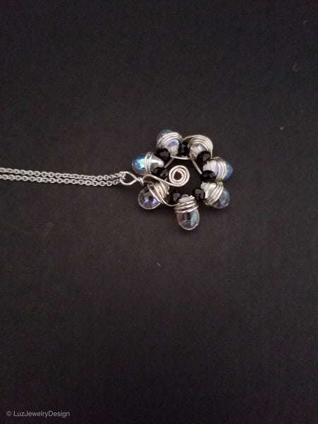 Silver Flower Necklace, Flower Wire  Wrapped Necklace