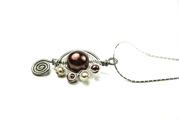 Brown pearl Wire Wrapped Pendant Necklace