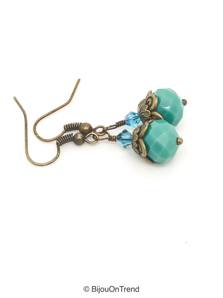 Turquoise Boho Brass Earrings - Turquoise Crystal and Blue Swarovski Boho Style Earrings