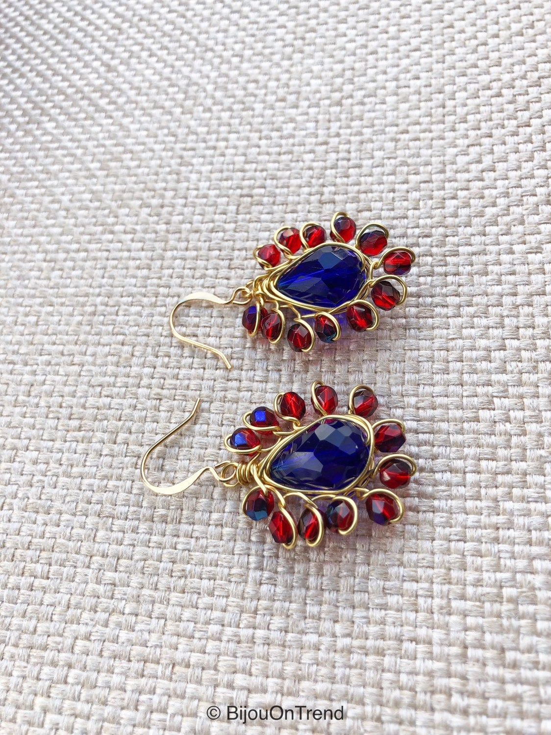 Gold Red Blue Earrings, red blue earrings, navy blue and red wire wrapped earrings