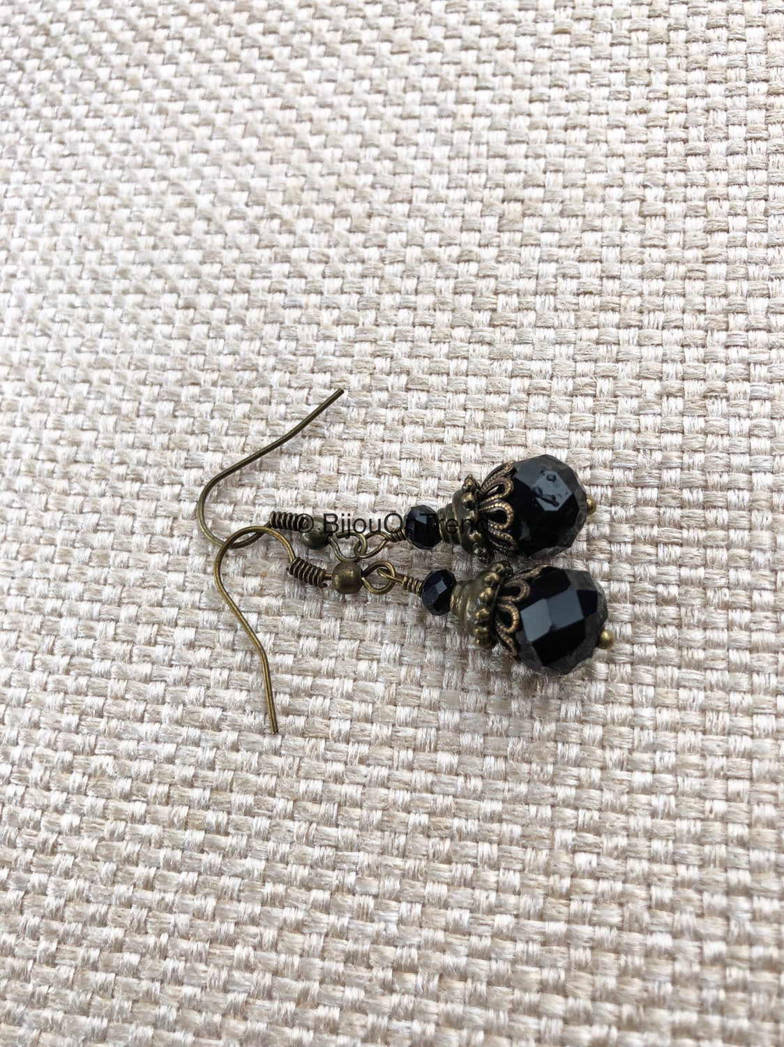 Black Brass Earrings, Boho Black Earrings