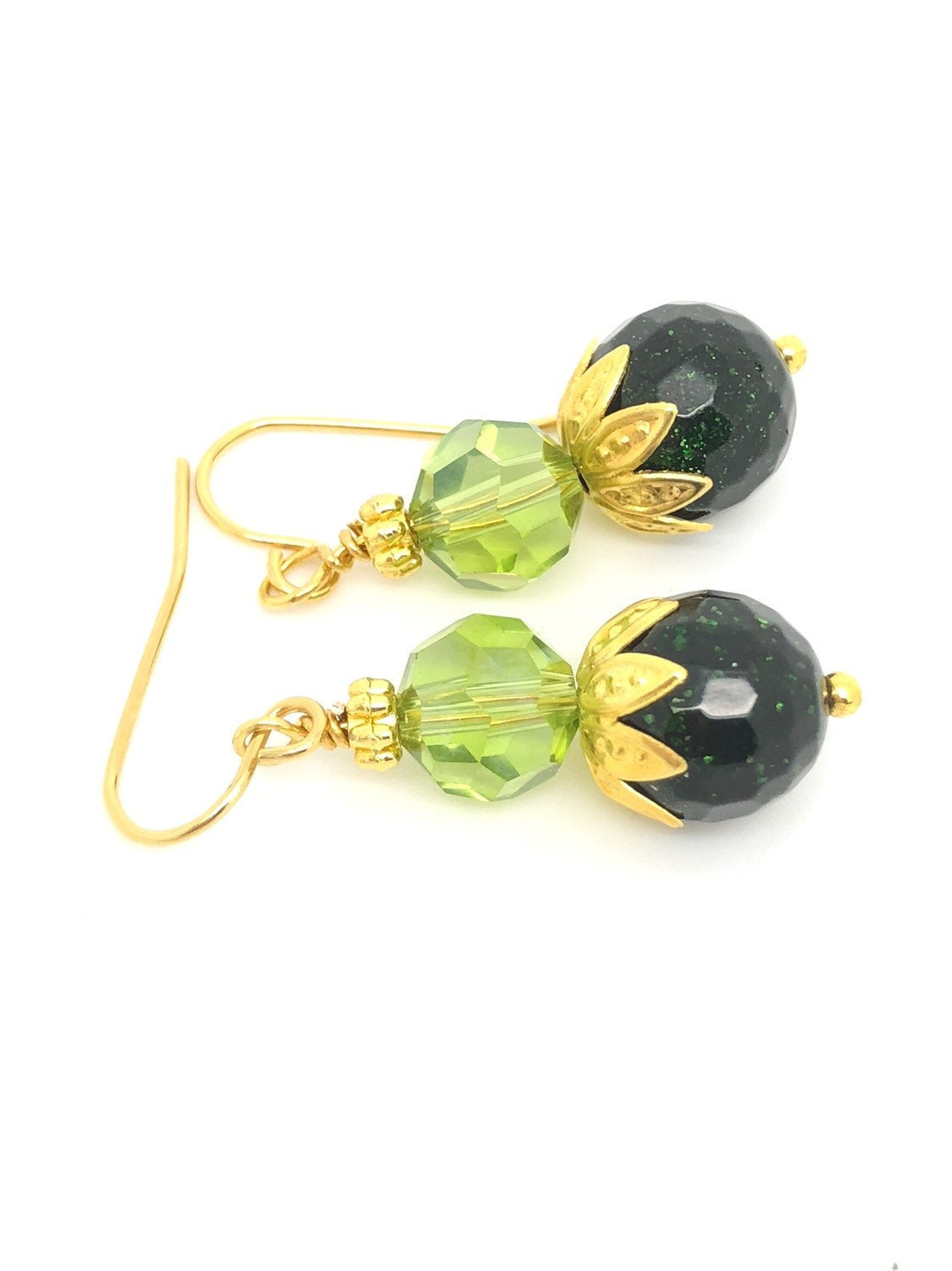 Green Sparkling Goldstone Light Green Swarovski Earrings, green goldstone earrings