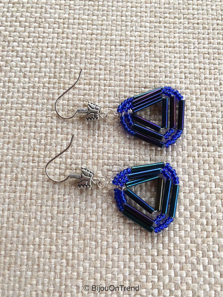 Blue Triangle Earrings, Earrings Geometric Triangle Earrings, Blue Wire Wrapped Earrings
