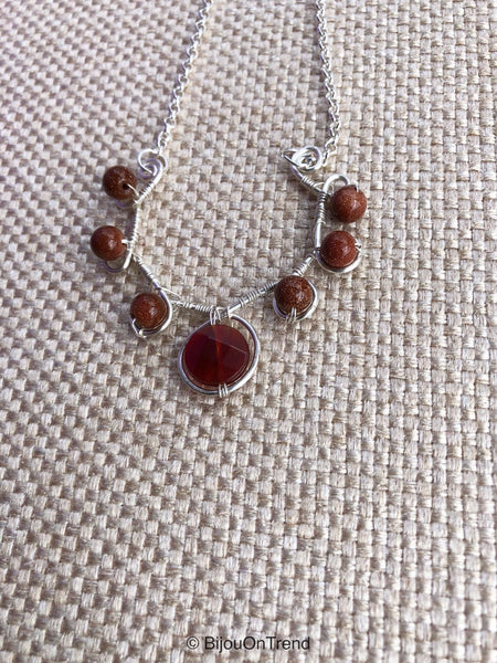Goldstone Brown Silver Necklace, Goldstone Necklace, Sandstone Necklace
