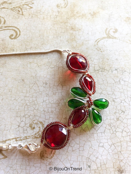 Red Green Wire Wrapped Necklace, Herringbone Wire Wrapped Necklace, Red Necklace, Green Necklace