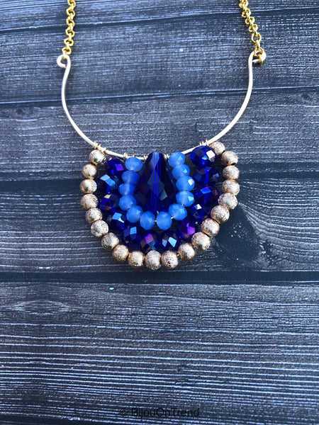 Blue Gold Boho Wire Wrapped Necklace, Navy Blue Bohemian Necklace
