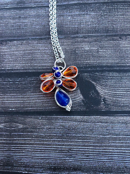 Orange Blue Silver Wire Wrapped Necklace, Orange Silver Necklace, Blue Silver Necklace
