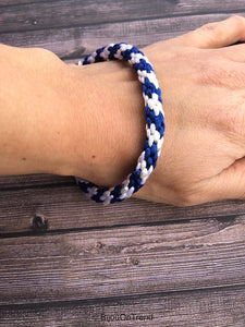 White and Blue Braided Bracelet, Kumihimo Blue and White Jewelry, Satin Cord Bracelet