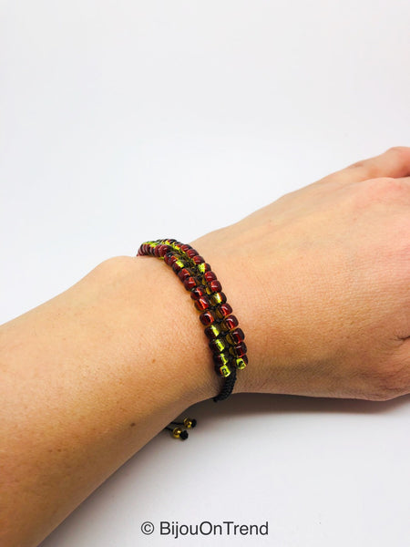 Gold Red Shinny Macrame Bracelet, Friendship Adjustable Brown and Red Bracelet
