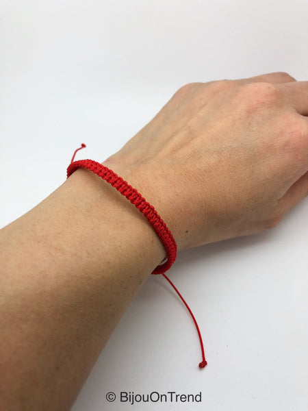 Red Macrame Bracelet, Friendship Adjustable Red Bracelet