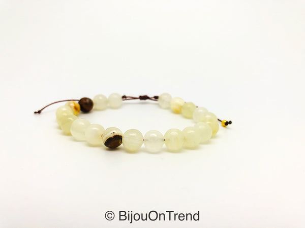 Italian Onyx Adjustable Bracelet, Cream White Yellow Brown Stretch Bracelet, White Italian Onyx Adjustable Jewelry