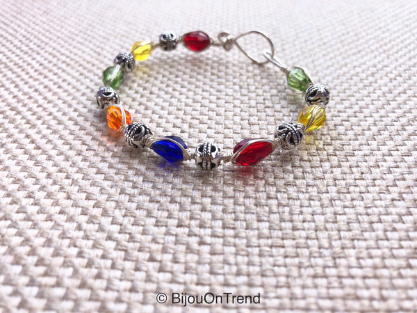 Multicolor Silver Trendy Bracelet, Silver Colorful  Wire Wrapped Bracelet, Color jewelry