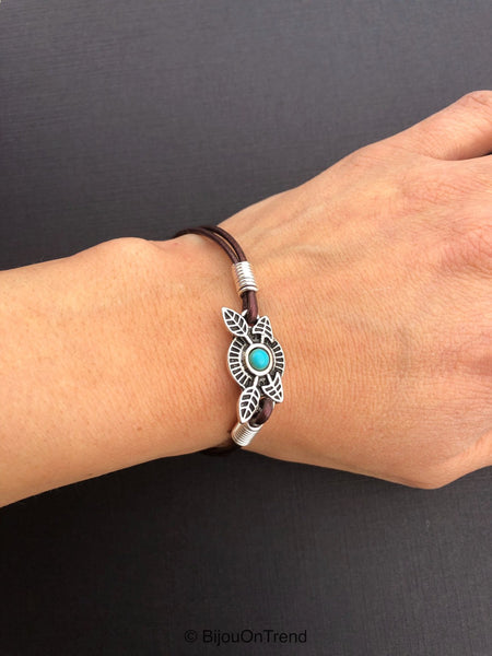 Brown Leather Sterling Silver Wire Wrapped Bracelet, Boho Brown Leather Jewelry