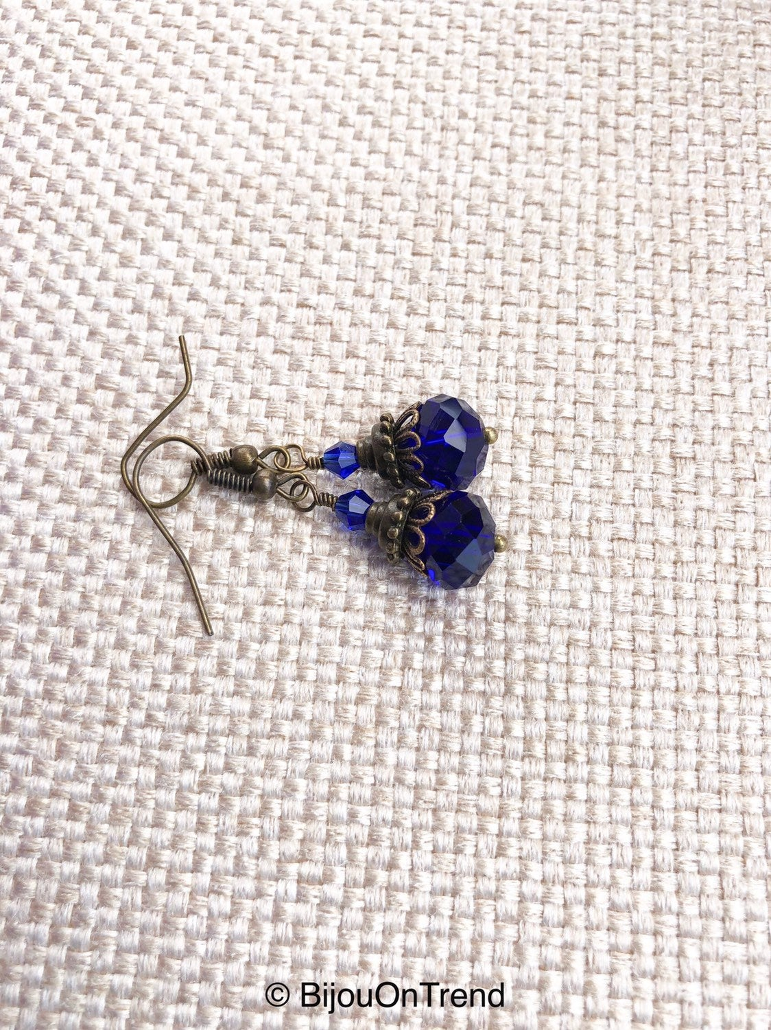 Indigo Blue Antique Brass Earrings, Trendy Blue Earrings