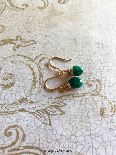 Emerald Gold Earrings, May Birthstone Jewelry, Dark Green Earrings, 14K Gold Filled Genuine Emerald Earrings