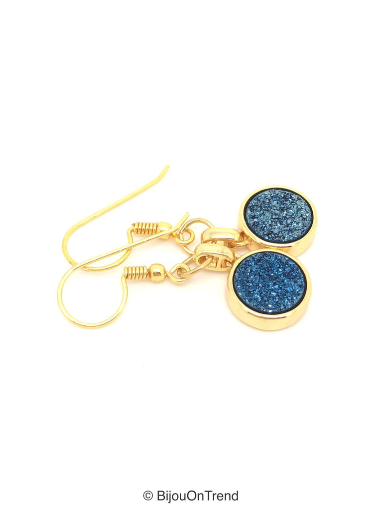Blue Druzy Earrings, Round Blue Druzy Earrings, Navy Blue Druzy Earrings, Druzy Stud Earrings