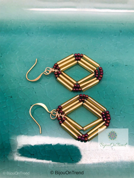 Gold Rhombus Earrings, Earrings Geometric Rhombus Earrings, Gold Wire Wrapped Earrings, Gold geometric earrings