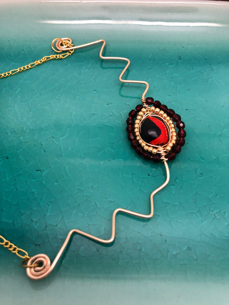 Gold Huayruro Necklace, Gold Andean Necklace, Red and Black necklace