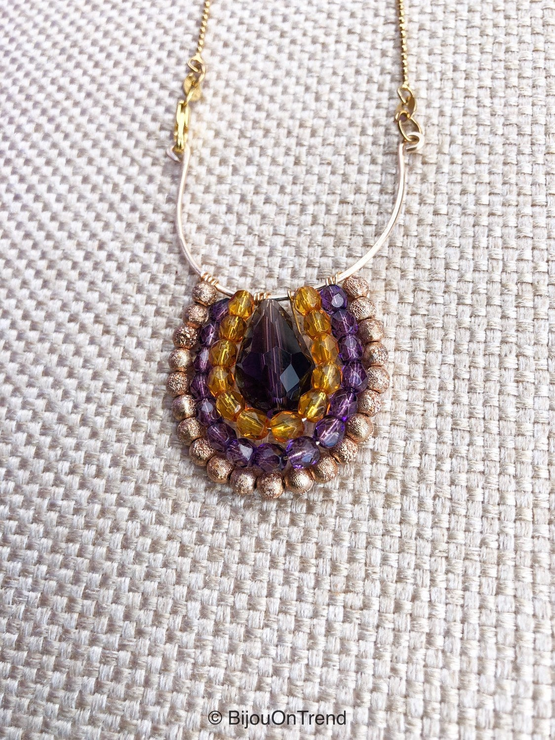 Purple yellow Gold Boho Wire Wrapped Necklace, Gold Purple Necklace