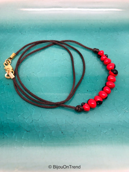 Huayruro Necklace, Andean Necklace, Red and Black necklace
