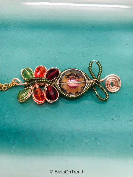 Green Red Orange Necklace, Crystal Gold WIre Wrapped Necklace