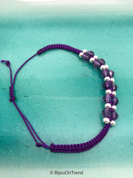 Genuine Amethyst Macrame Bracelet, Silver Purple Knotting Friendship Bracelet