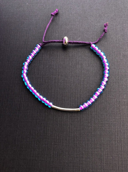 Adjustable Silver  Tube Purple Bracelet