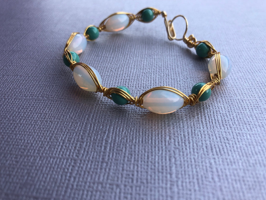 Turquoise White Gold Wire Wrapped Bracelet, White and Turquoise Wire Wrapped Bracelet