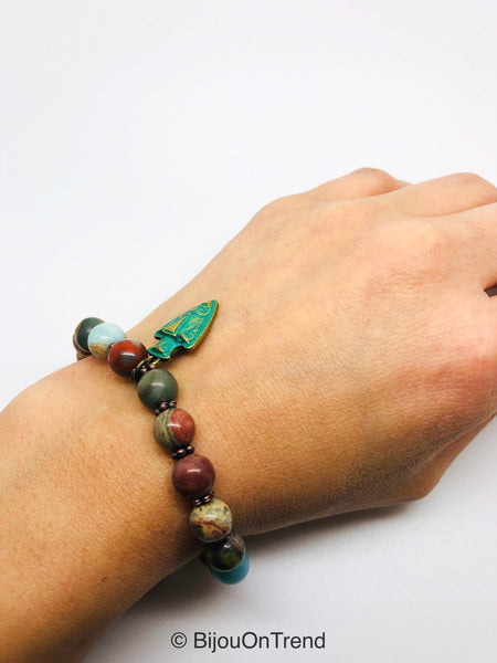 Picasso Jasper Stretching Bracelet, Anxiety Picasso Jasper Bracelet, Autumn Multicolor protection bracelet