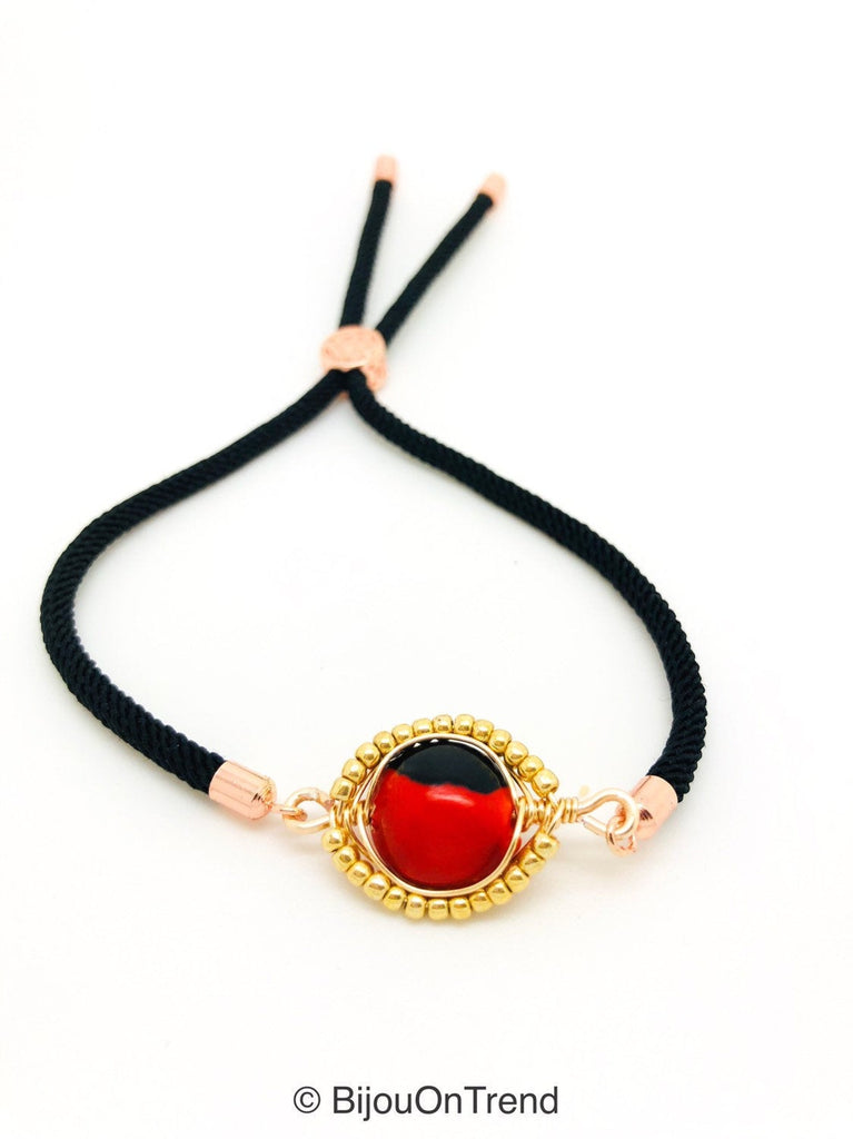 Black Adjustable Huayruro Bracelet, Trendy Red and Black Lucky Bracelet
