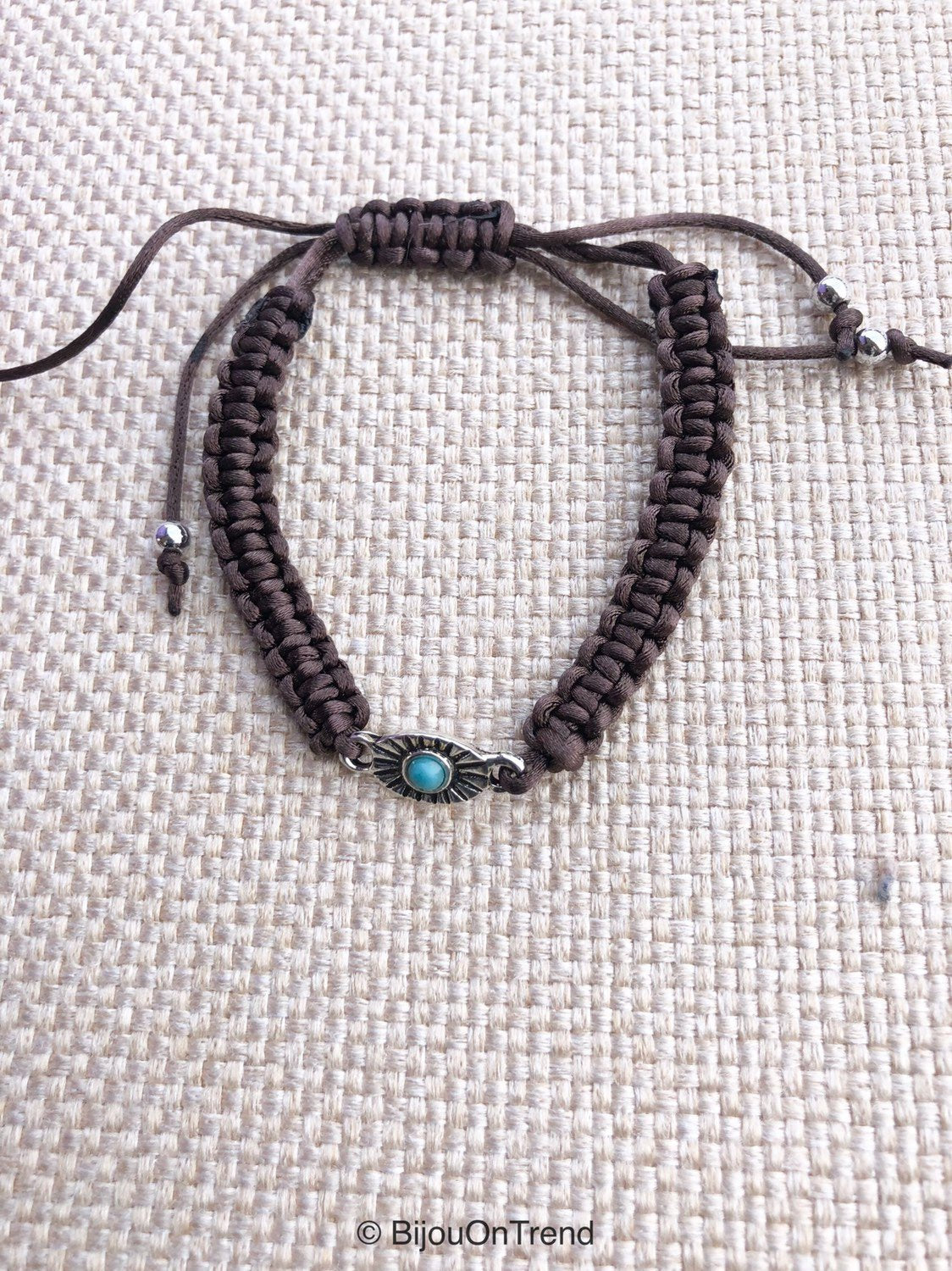 Brown Macrame Bracelet, Brown Turquoise Friendship Bracelet, Brown turquoise bracelet