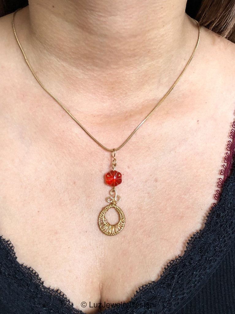 Red Flower Gold Wire Necklace, Gold Red Jewelry,  Flower Gold Wire Wrapped Necklace, Red Necklace with wire wrapped pendant