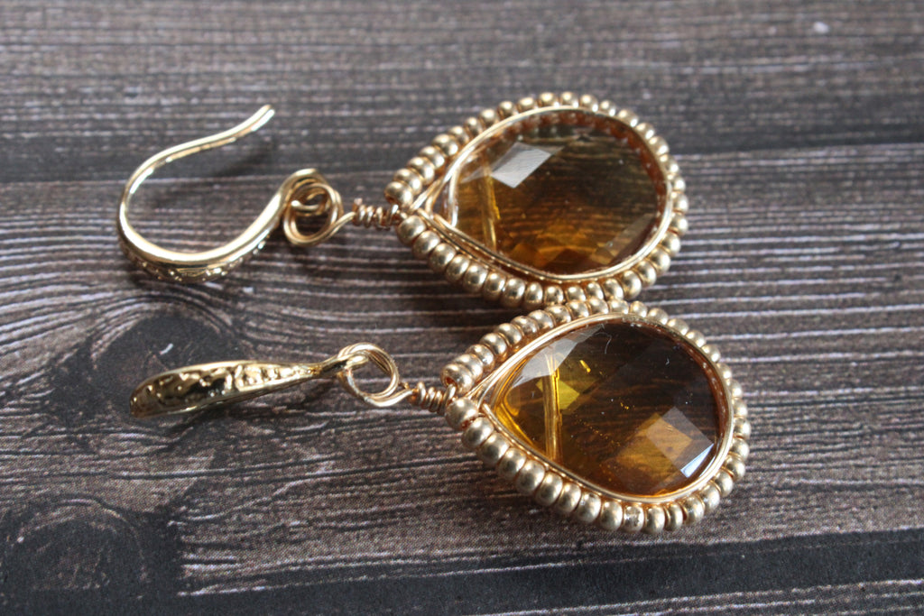 Yellow Gold Earrings, Gold Yellow Teardrop Earrings,  Yellow Glass Earrings, yellow jewelry, Summer jewelry