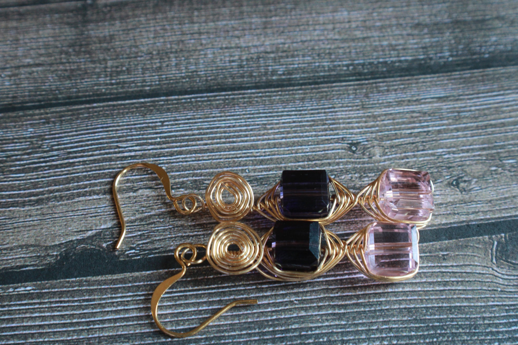 Light Pink cube Earrings, Dark purple light pink Herringbone Wrap Dangle Earrings, cube jewelry