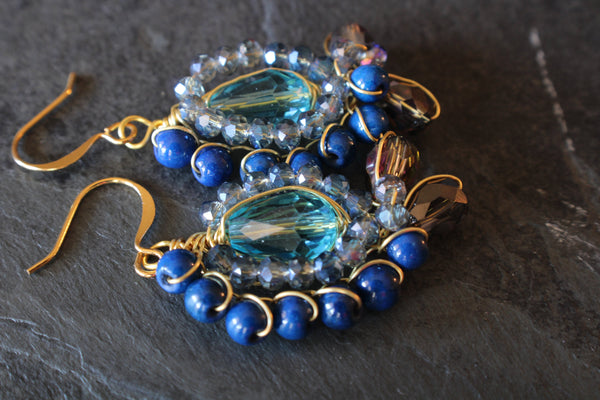 Blue boho earrings, Boho wire wrapped crystal Earrings, Blue bohemian gold Jewelry